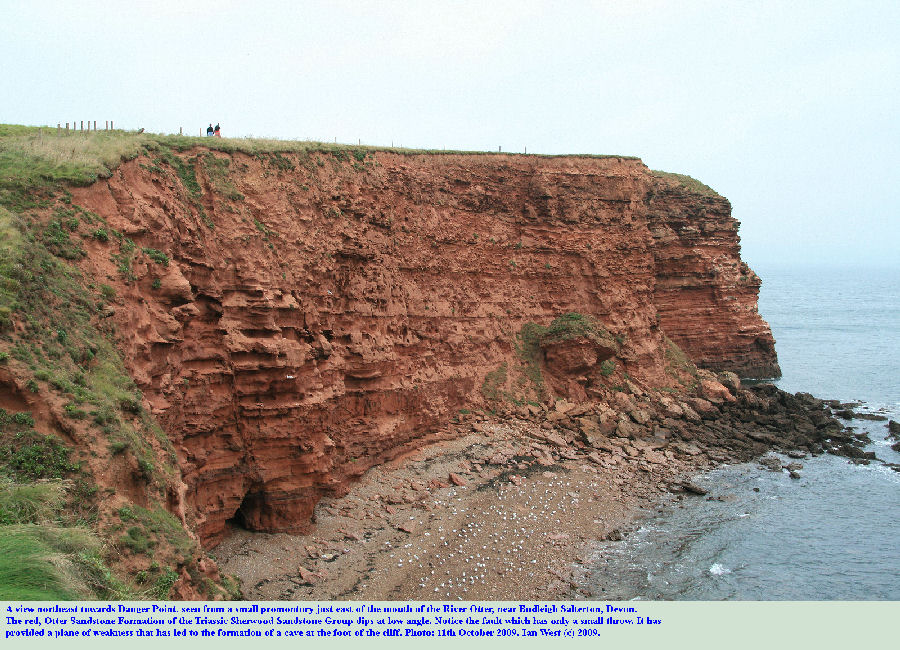 View of the cliffs towards Danger Point, northeast of the mouth of the River Otter, near Budleigh Salterton, East Devon