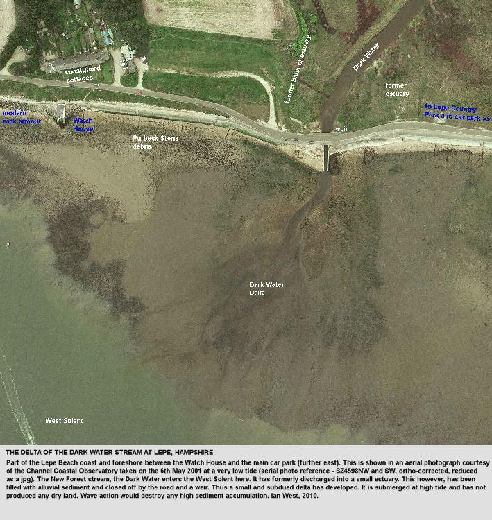 A small intertidal delta of the Dark Water stream, at Lepe Beach, Hampshire, aerial photograph of the Channel Coastal Observatory, 2001