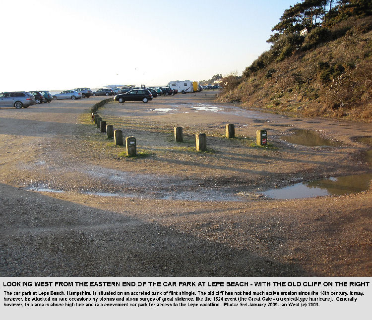 The main car park at Lepe Beach, Hampshire, is on a bank of flint shingle with with the old cliff at the back