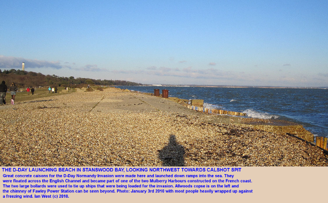 The D-Day, Normandy Invasion, launching beach in Stanswood Bay near Lepe Beach, West Solent, Hampshire, January 2010
