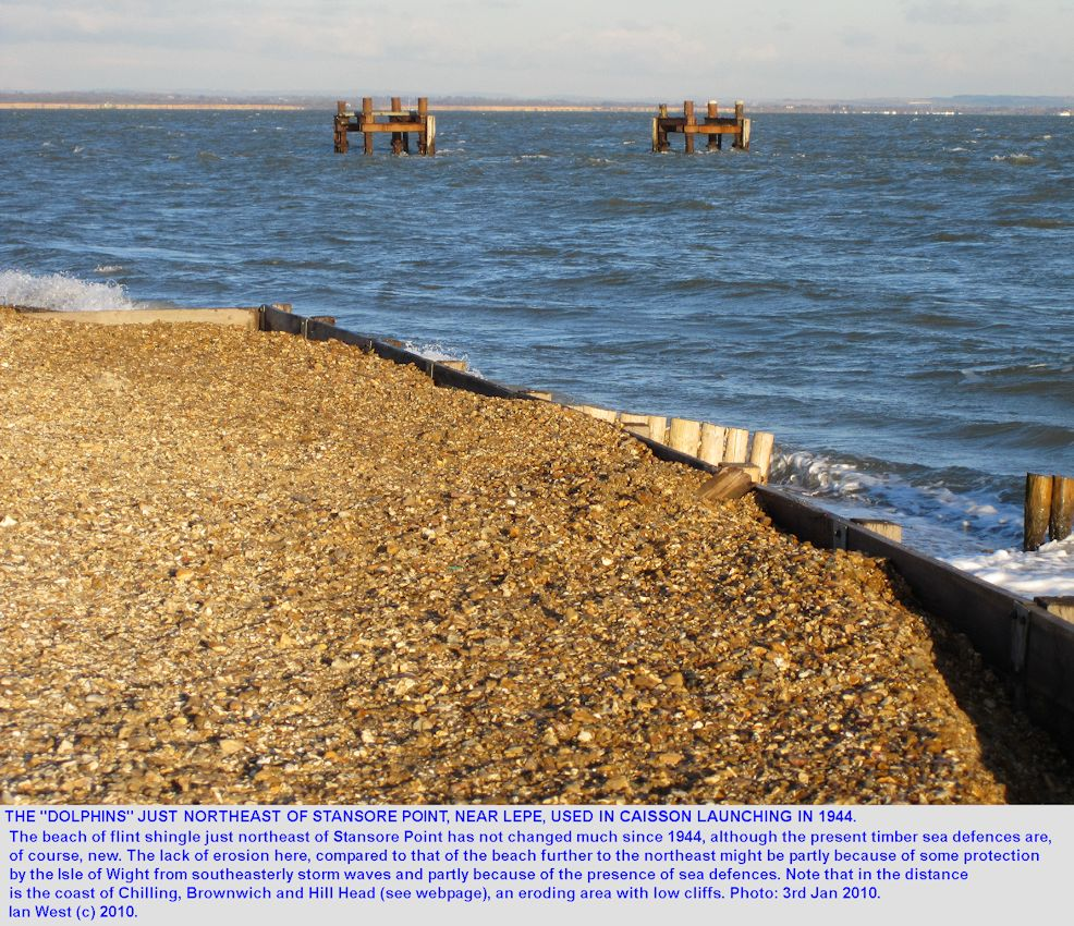 Old pier structures northeast of Stansore Point near Lepe Beach, Hampshire, that were used for ships involved in the D-Day invasion of Normandy in 1944
