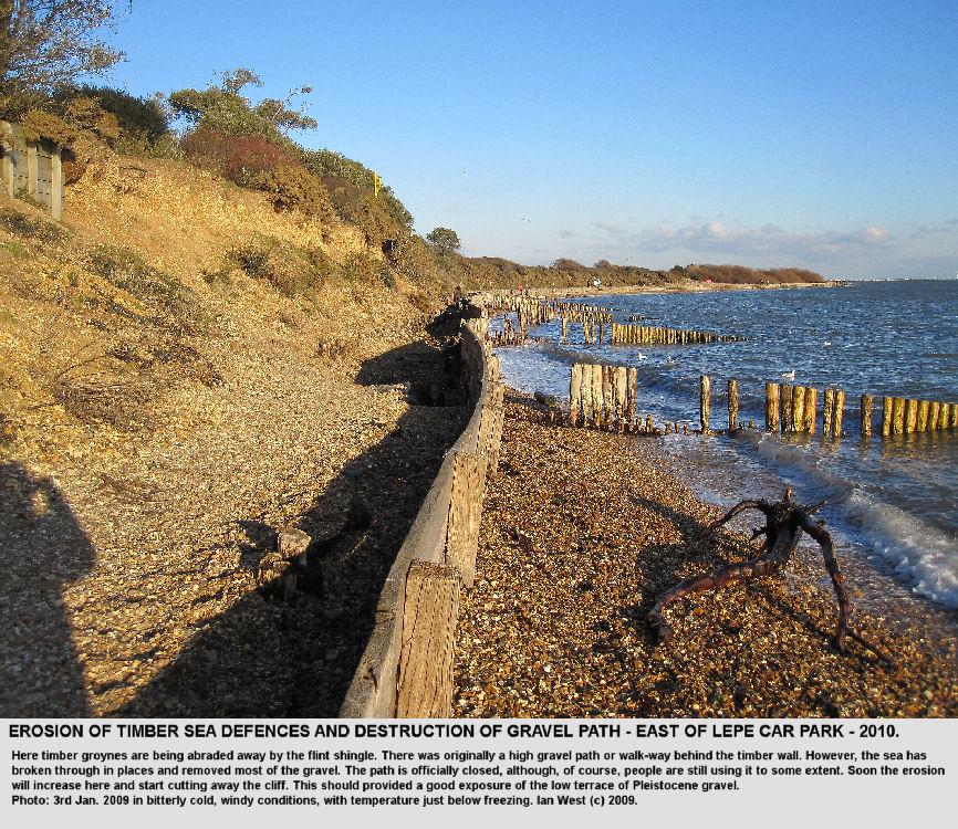 Erosion of the timber sea defences and gravel path, east of the car park, Lepe Beach, Hampshire, January 2010