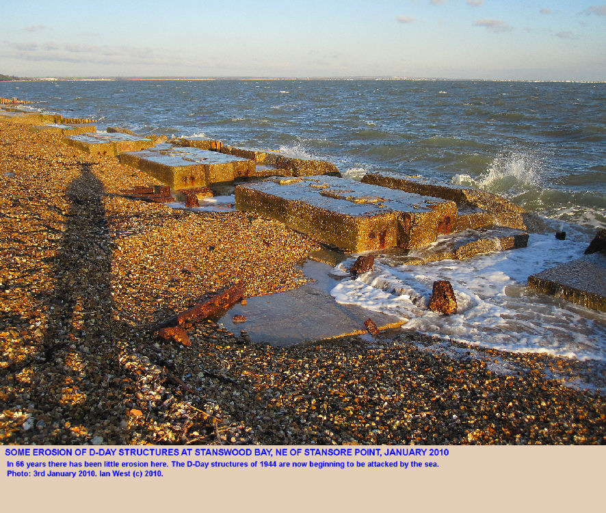 Erosion of D-Day structures in Stanswood Bay, north of Stansore Point, near Lepe Beach, Hampshire, in January 2010