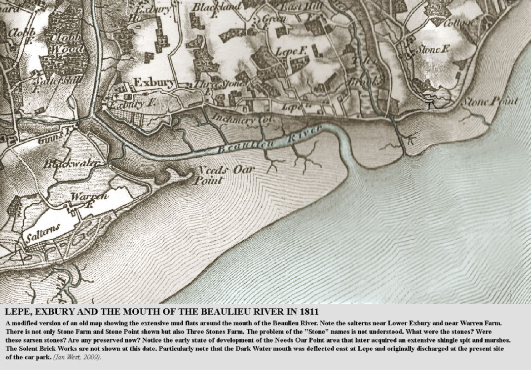 A modified part of an old map, 1811, showing Lepe and Exbury, West Solent, Hampshire