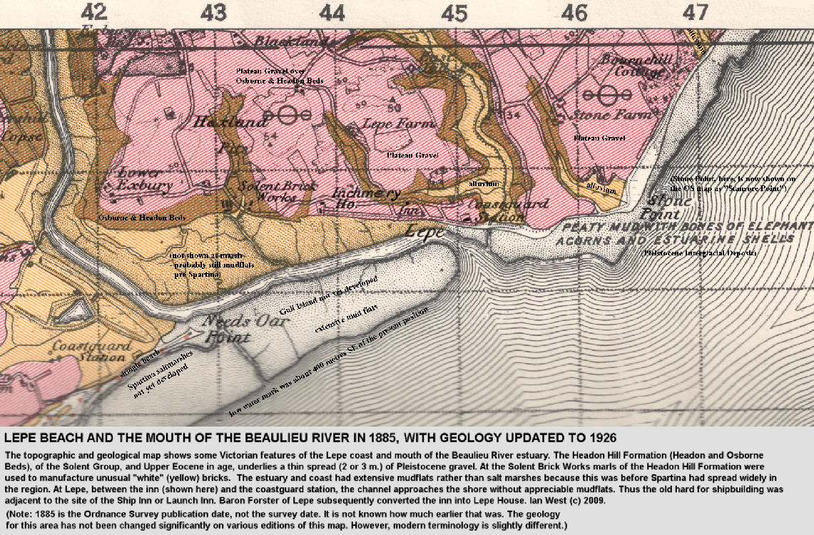 An 1885 topographic base map, with the geology superimposed, of the area around Lepe, including Lower Exbury and the mouth of the Beaulieu River, West Solent, Hampshire