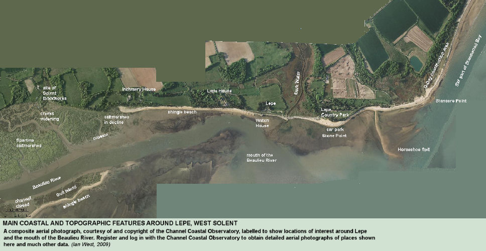 Composite, small-scale aerial photograph of the coastline at Lepe and the mouth of the Beaulieu River, West Solent, Hampshire, photos by CCO, with labels added