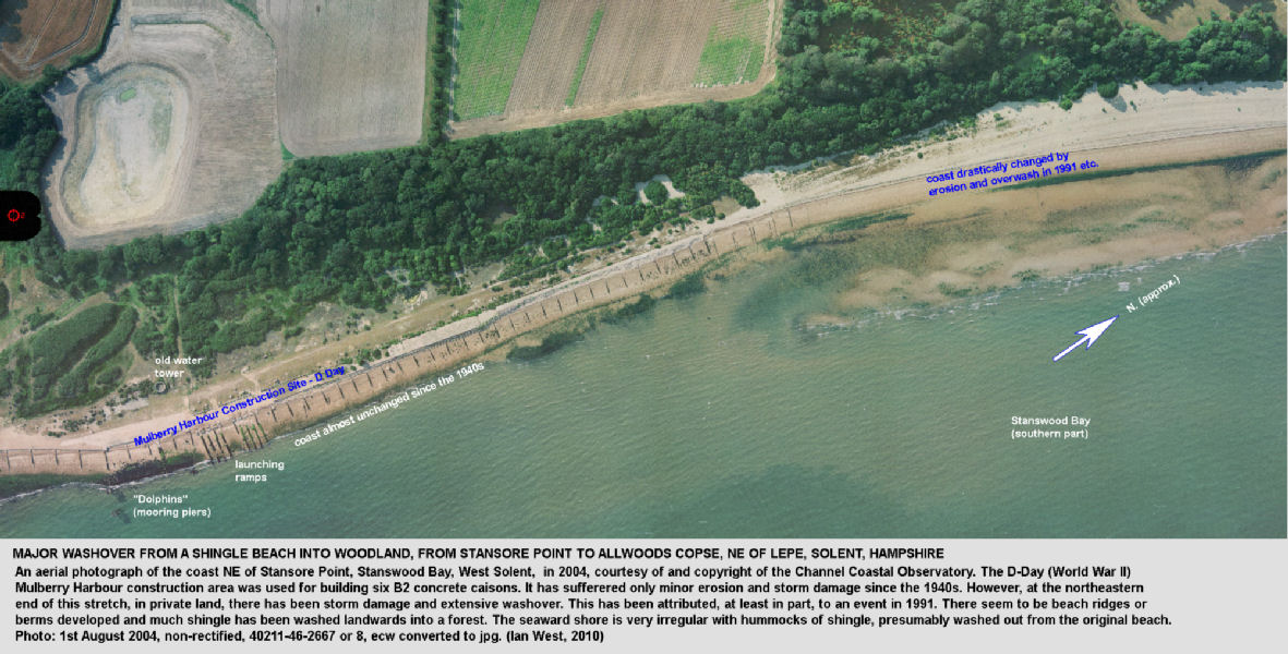 The Mulberry Harbour construction area northeast of Lepe Beach, West Solent, Hampshire, showing little erosion, and a further part of Stanswood Bay showing major washover and storm damage, aerial photo 2004