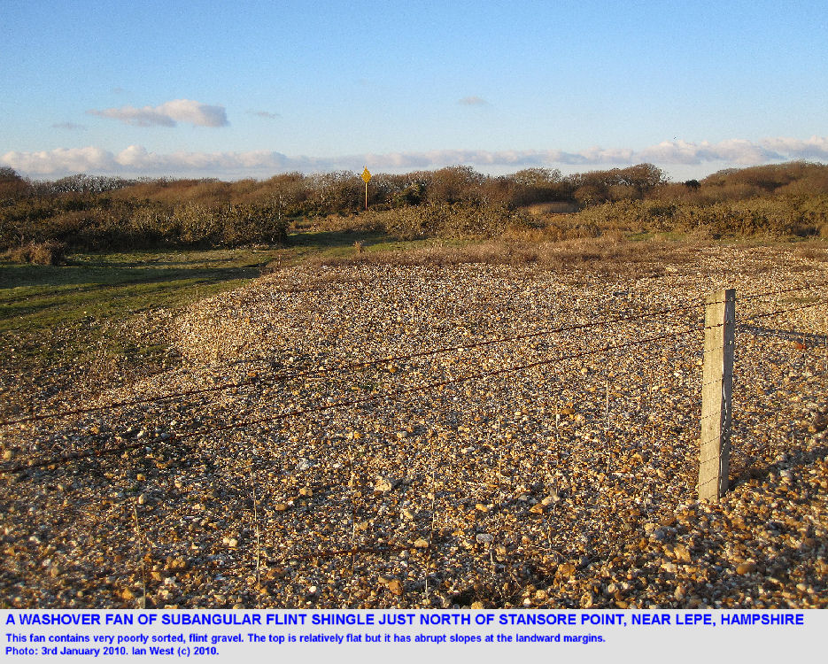 A washover fan of shingle north of Stansore Point, near Lepe Beach, Hampshire, 3rd January 2010