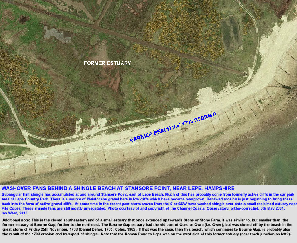 Washover fans from a shingle beach at Stansore Point, east of Lepe Beach, Hampshire, aerial photograph, Channel Coastal Observatory, 2001