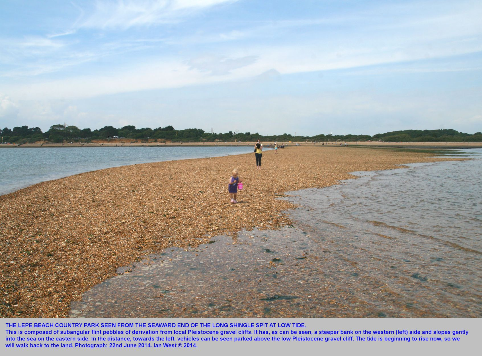 A view landward towards Lepe Beach at Lepe Country Park, Hampshire, from the end of the long, seaward, shingle spit, Horseshoe Spit, June 2014