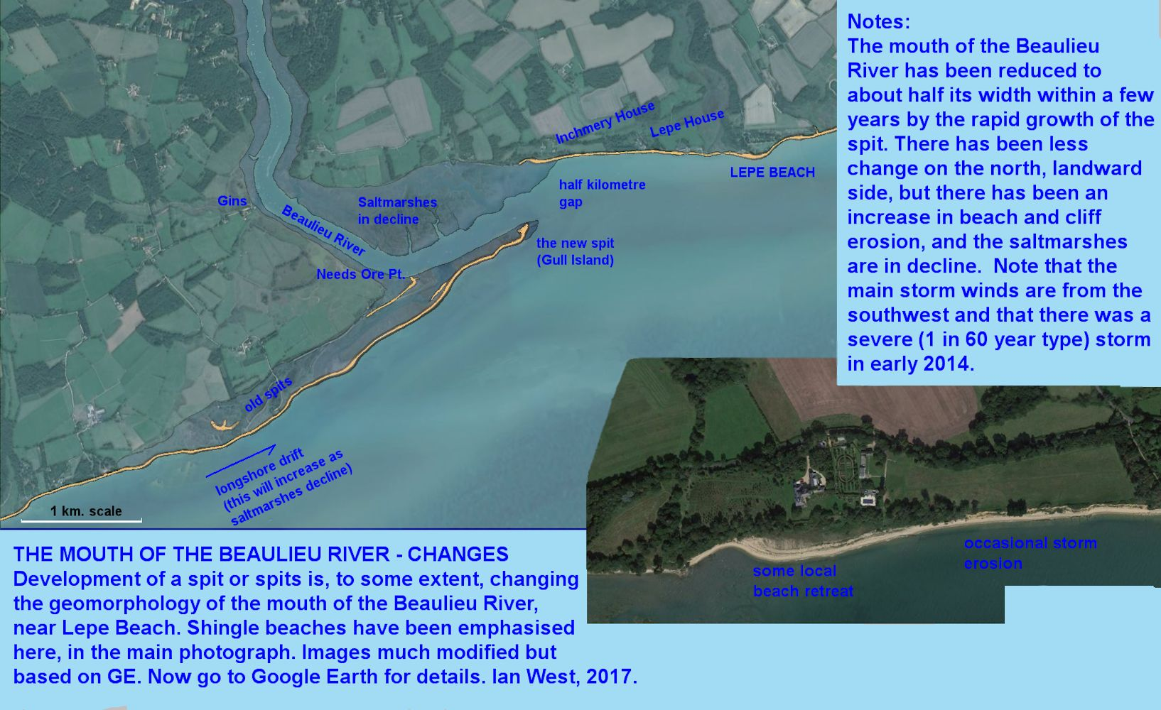 Recent changes in the spit at the mouth of the Beaulieu River, near Inchmery and Lepe Beach, Hampshire, 1st May 2017