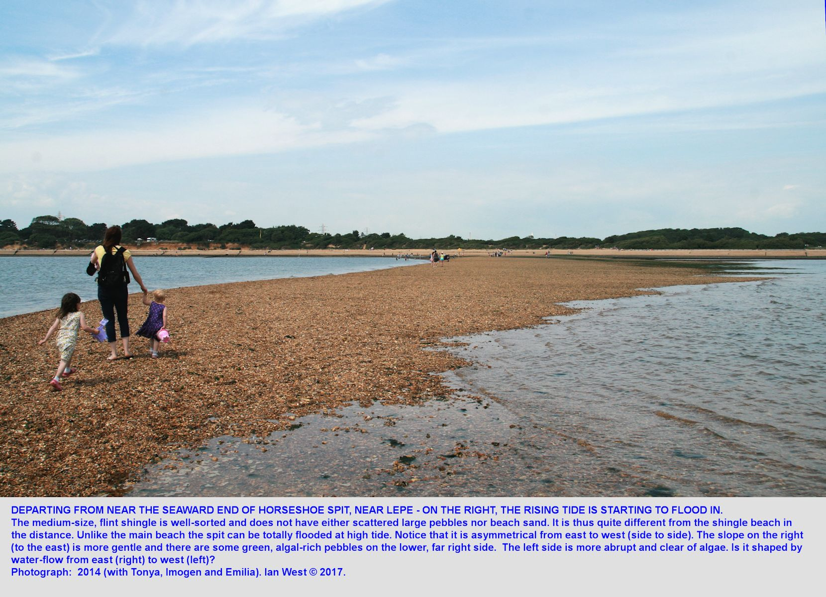Departing from the end of Horseshoe Spit, a transverse spit or bar in the West Solent estuary, near Lepe Beach, Hampshire