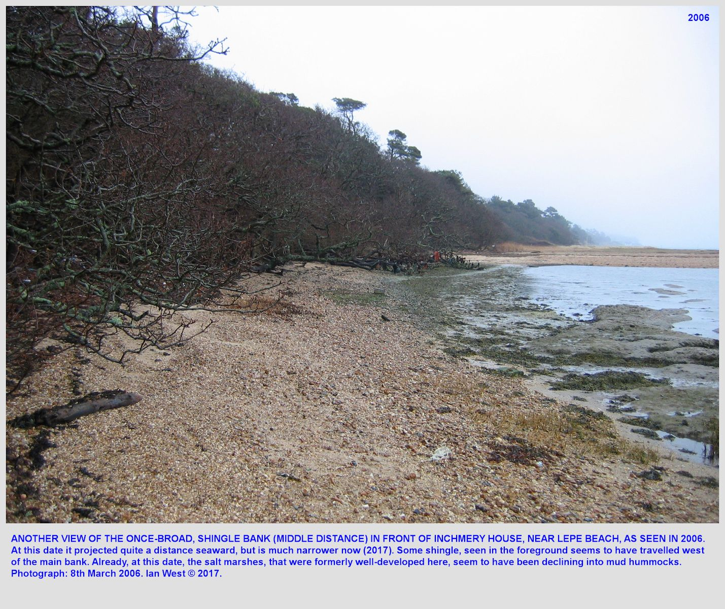Another view of the formerly-wide shingle beach in front of Inchmery House, near Lepe Beach, Hampshire, as seen in 2006 before it was narrowed