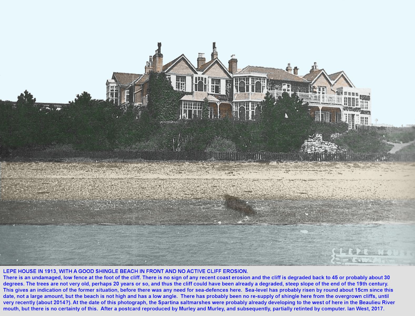 Lepe House in 1913, showing an apparently stable shingle beach and with no cliff erosion taking place, Lepe, Hampshire