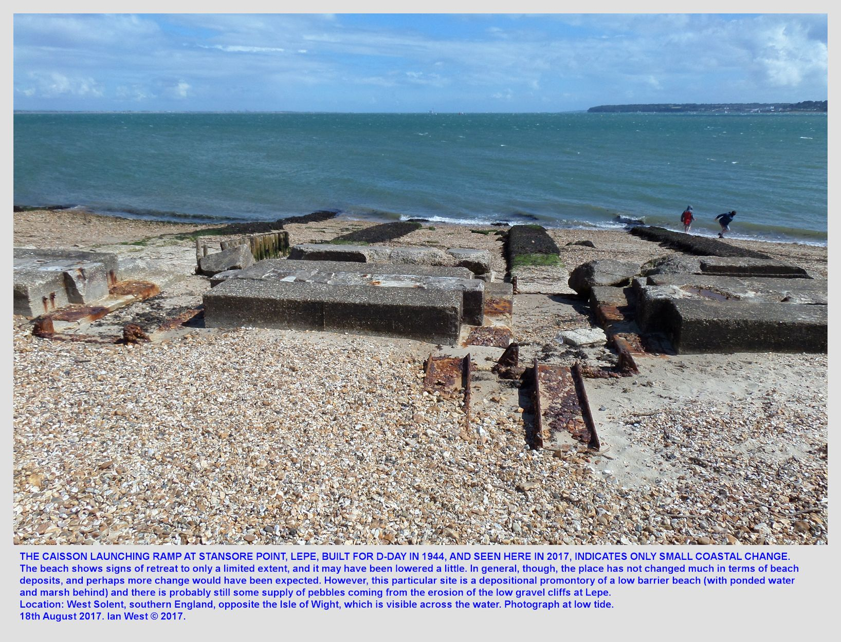 In the beach shingle - the remains of a steel and concrete ramp used for the launching of caissons which were constructed on the nearby beach for the D-Day Invasion, Stansore Point, Lepe, Hampshire, low tide, 18th August 2017