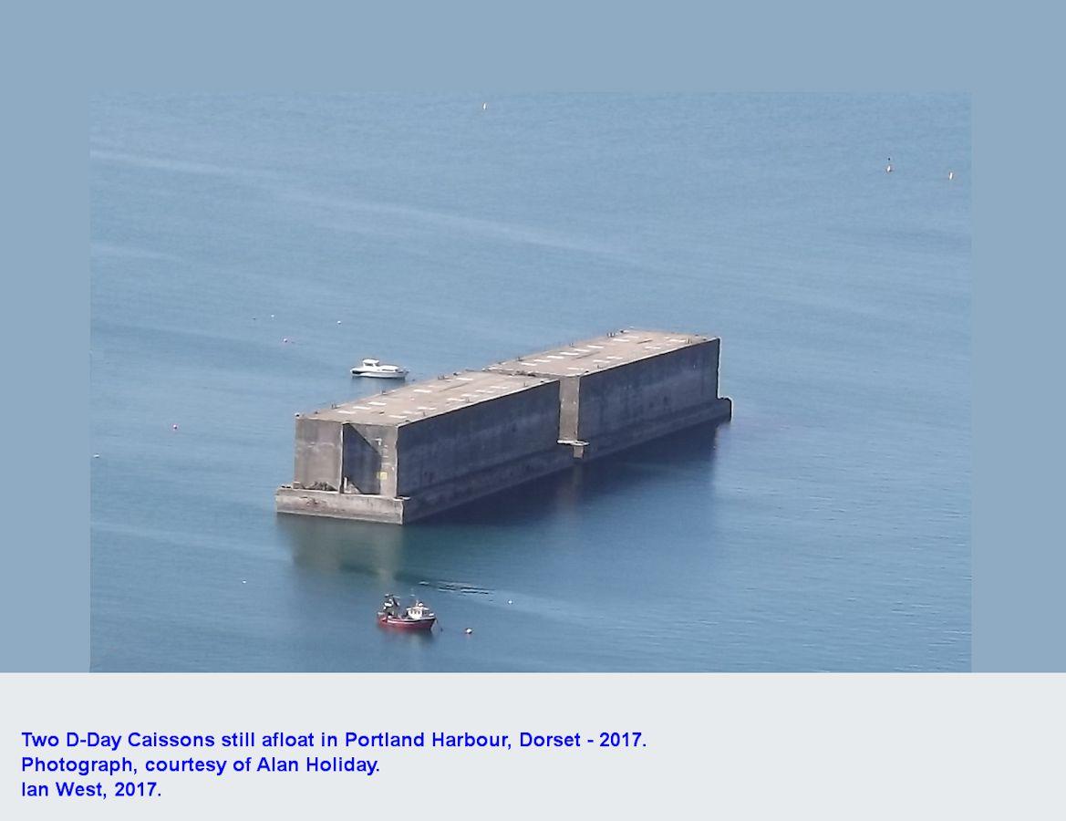 Caissons, still afloat, in Portland Harbour, Dorset, 2017
