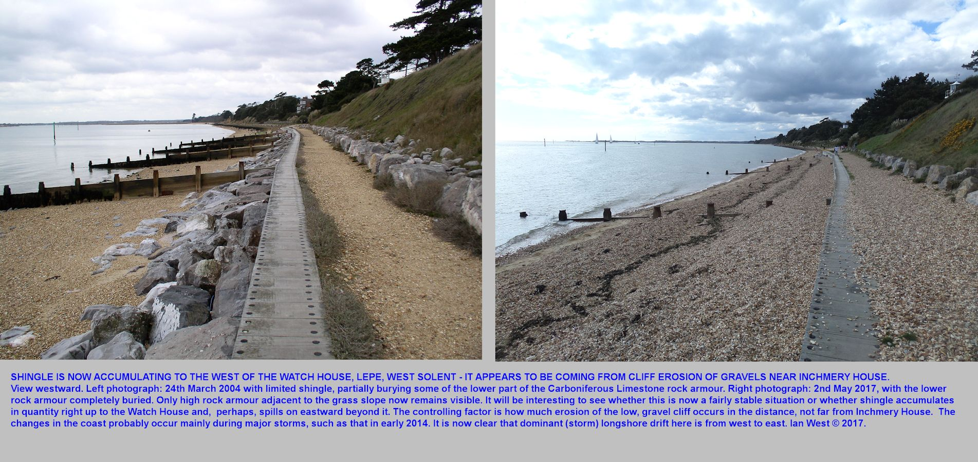 Comparative photographs showing eastward movement and build up of flint shingle west of the Watch House, Lepe Beach, Hampshire