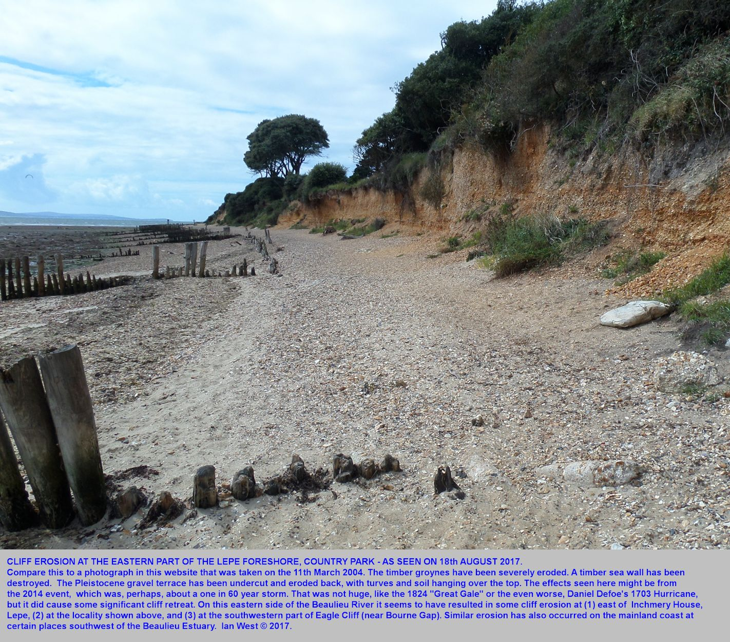 Evidence of recent erosion at part of Lepe Beach, Hampshire, in front of the Country Park and east of the beach car park and facilities, 18th August 2017