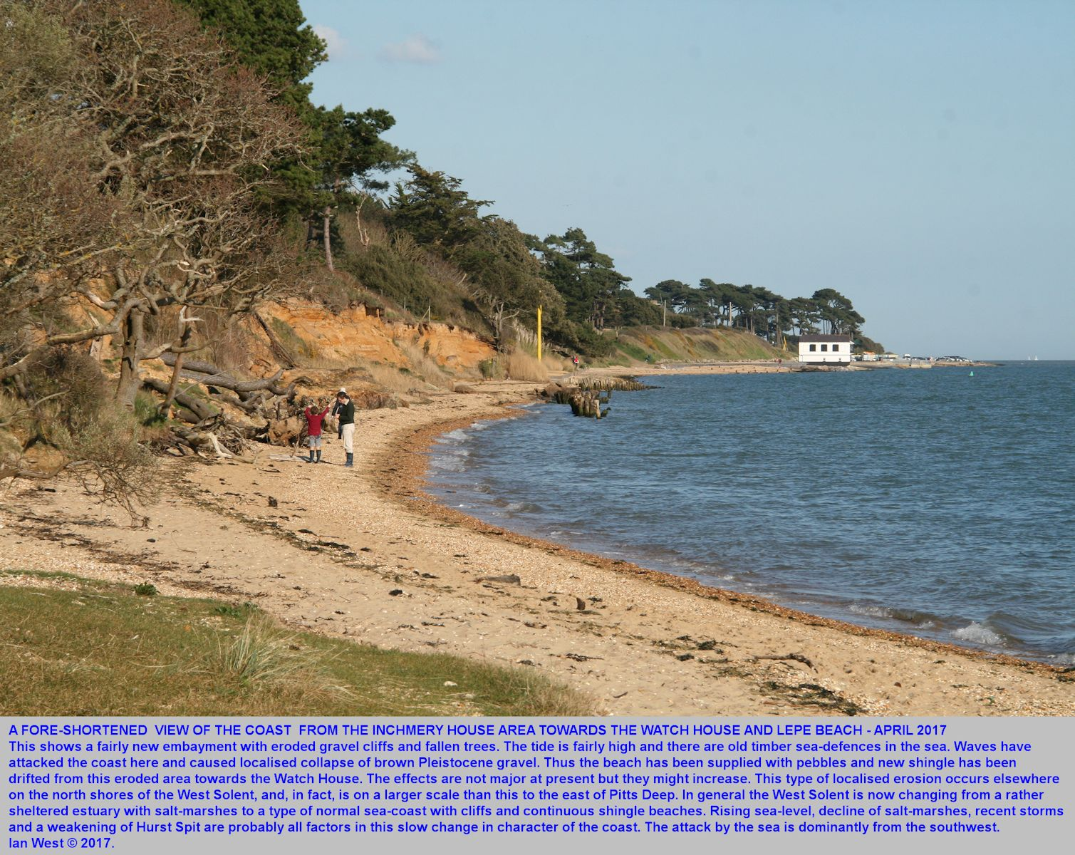A fore-shortened view from the coast near Inchmery House eastward towards the Watch House, Lepe Beach, Hampshire, 2nd April 2017, showing localised coast erosion