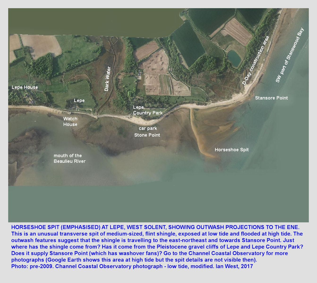 Horseshoe Spit, in the West Solent estuary near Lepe Beach, Hampshire, England, a transverse spit of reworked, Pleistocene, flint shingle, as seen in a modified aerial view by the Channel Coastal Observatory