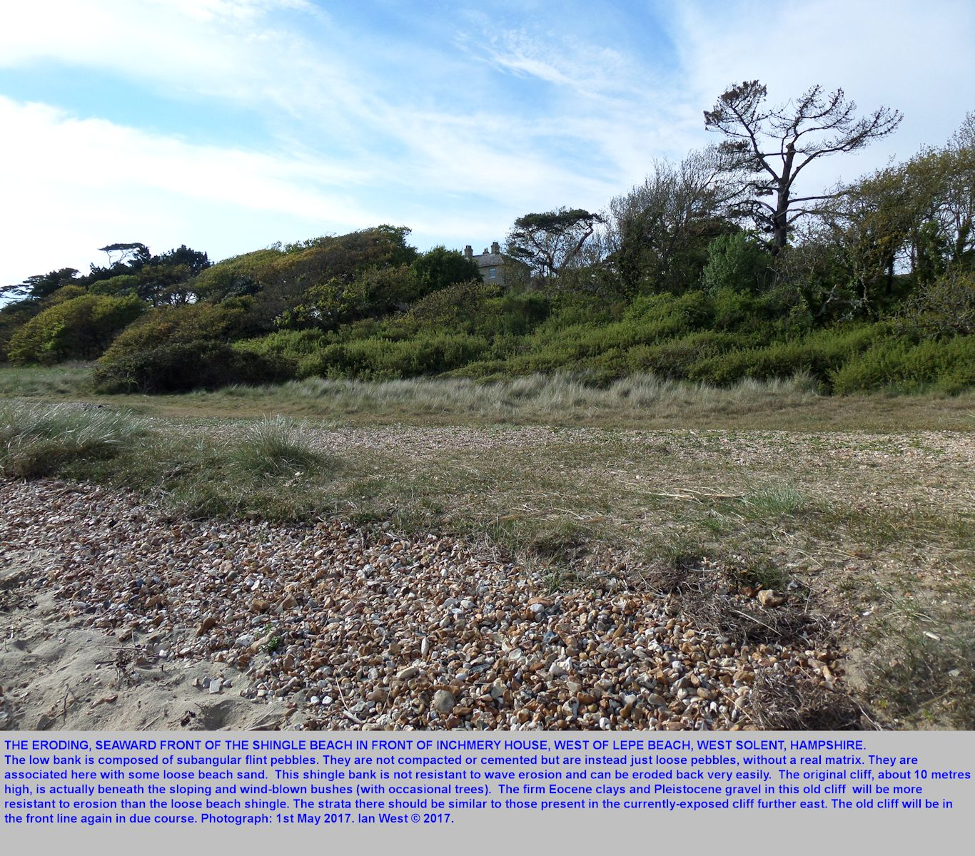 An oblique view of the remains of the curved shingle beach in front of Inchmery House, west of Lepe Beach, Hampshire, 1st May 2017