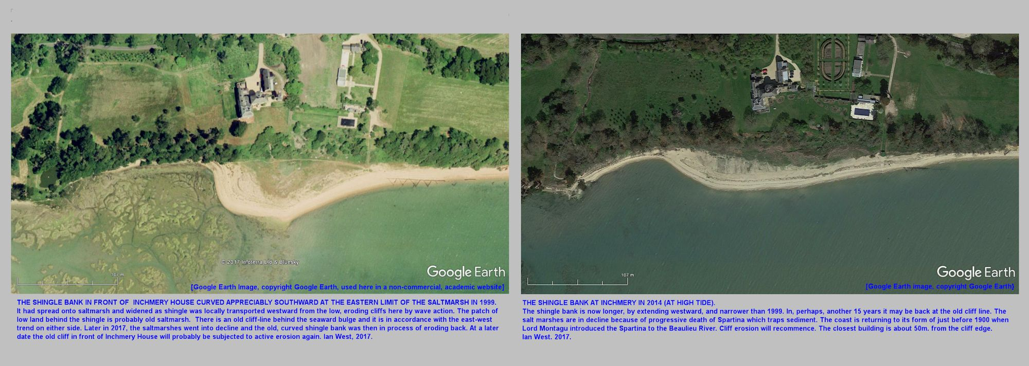 Changes in the curved shingle bank, Horseshoe Spit, at Inchmery House, west of Lepe Beach, Hampshire, from 1999 to 2014 as shown by GE