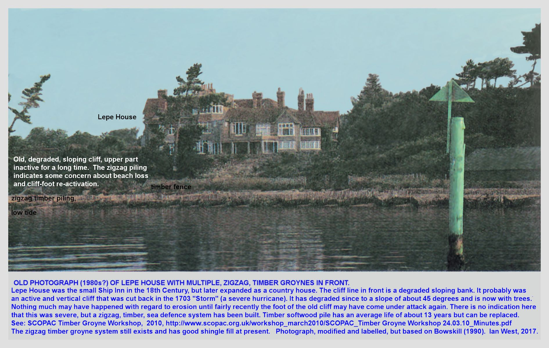 An old photograph of Lepe House, with the timber, V-shaped sea defences, Lepe Beach, Hampshire
