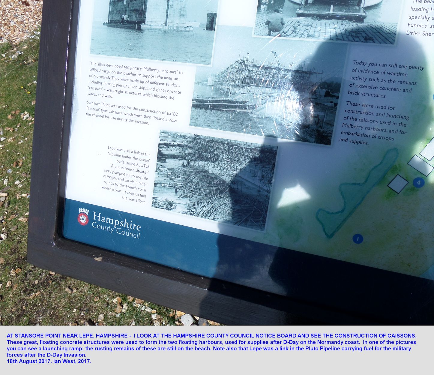 A Council Notice Board at Stansore Point, east of Lepe Beach, Hampshire, that provides information on the construction of concrete Caissons, here on this beach, and also information on the invasion fuel pipeline