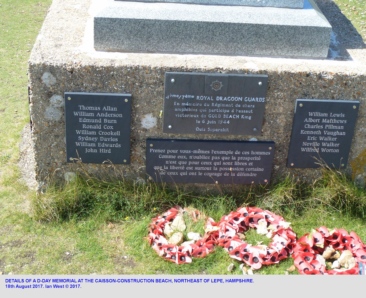 Details of the D-Day Monument on the caisson-construction beach, northeast of Stansore Point, near Lepe, Hampshire