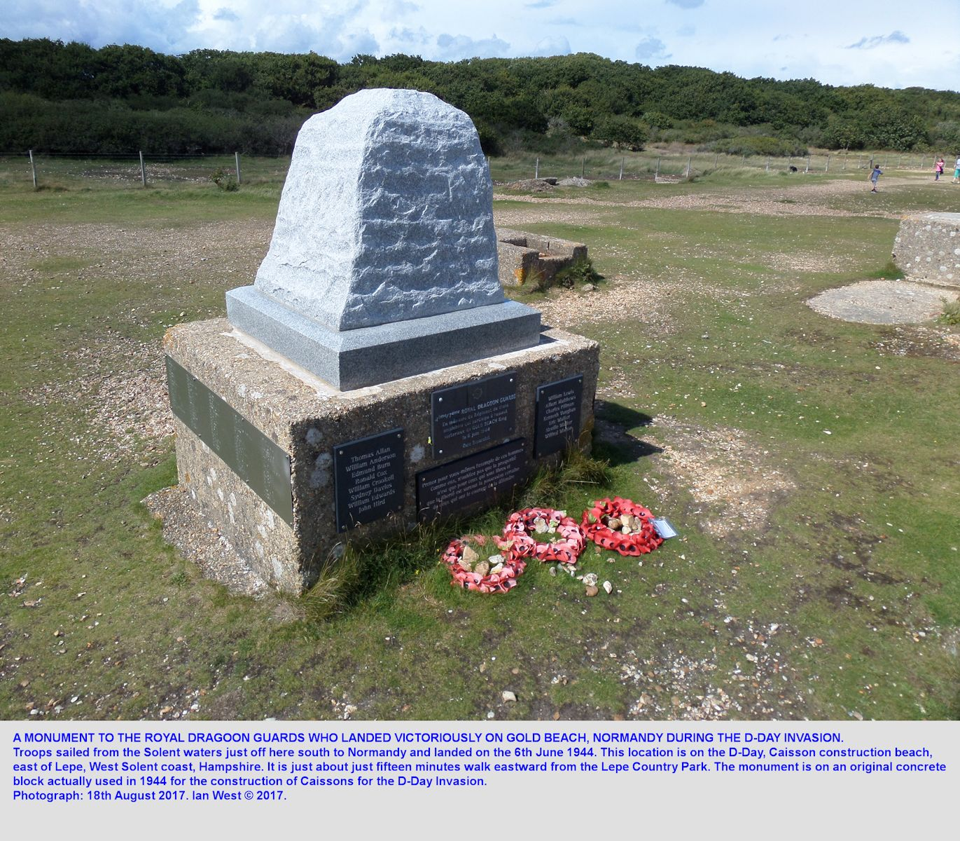 The D-Day Monument on the caisson-construction beach, northeast of Stansore Point, near Lepe, Hampshire