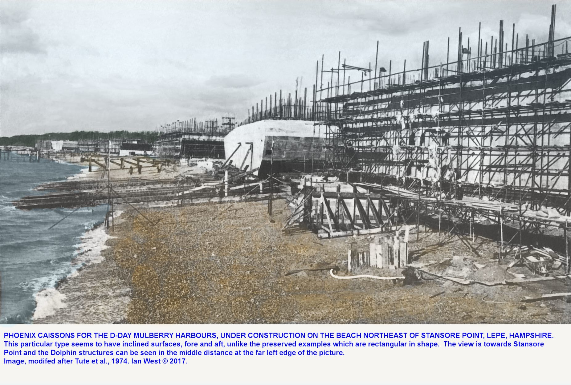 Work in progress on the construction of six caissons for D-Day at the beach northeast of Stanshore Point, Lepe, Hampshire in 1944