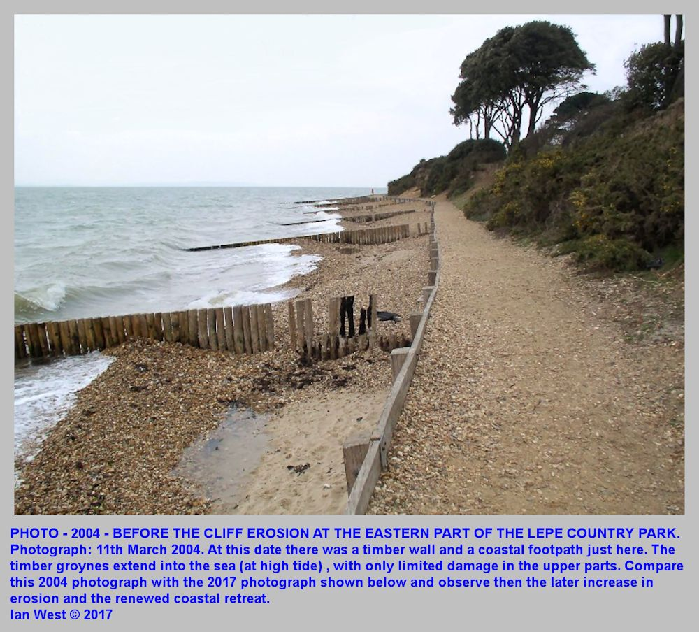 Before the recent erosion at part of Lepe Beach, Hampshire, in front of the Country Park and east of the beach car park and facilites, 11th March 2004