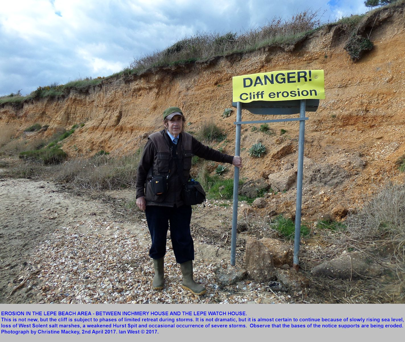 A warning notice about risk of cliff-fall at an eroding location east of Lepe Beach, Hampshire, and not far from Inchmery House