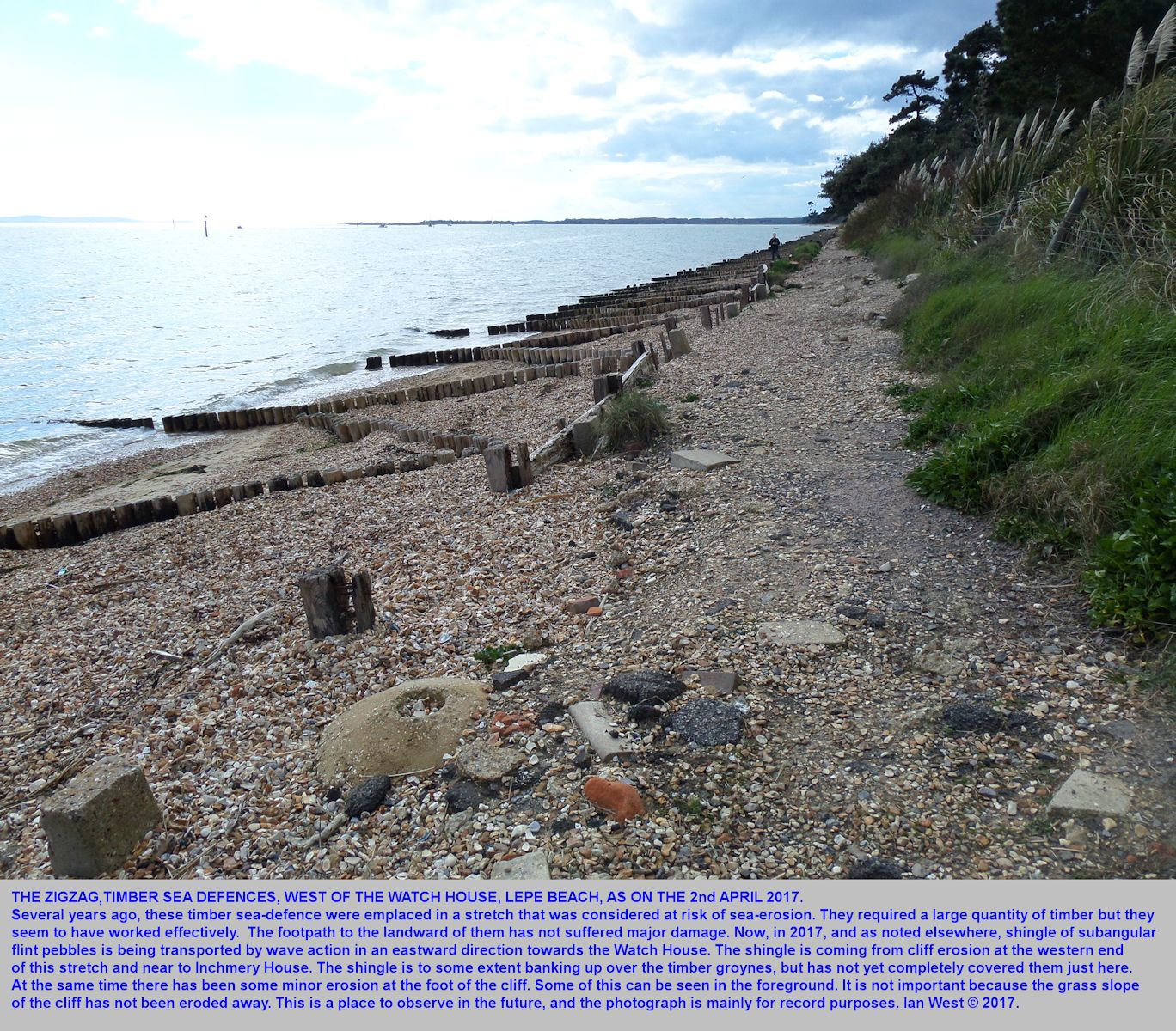 A zigzag pattern of timber sea defences to the west of the Watch House at Lepe Beach, Hampshire, as seen in 2017, when shingle was accumulating