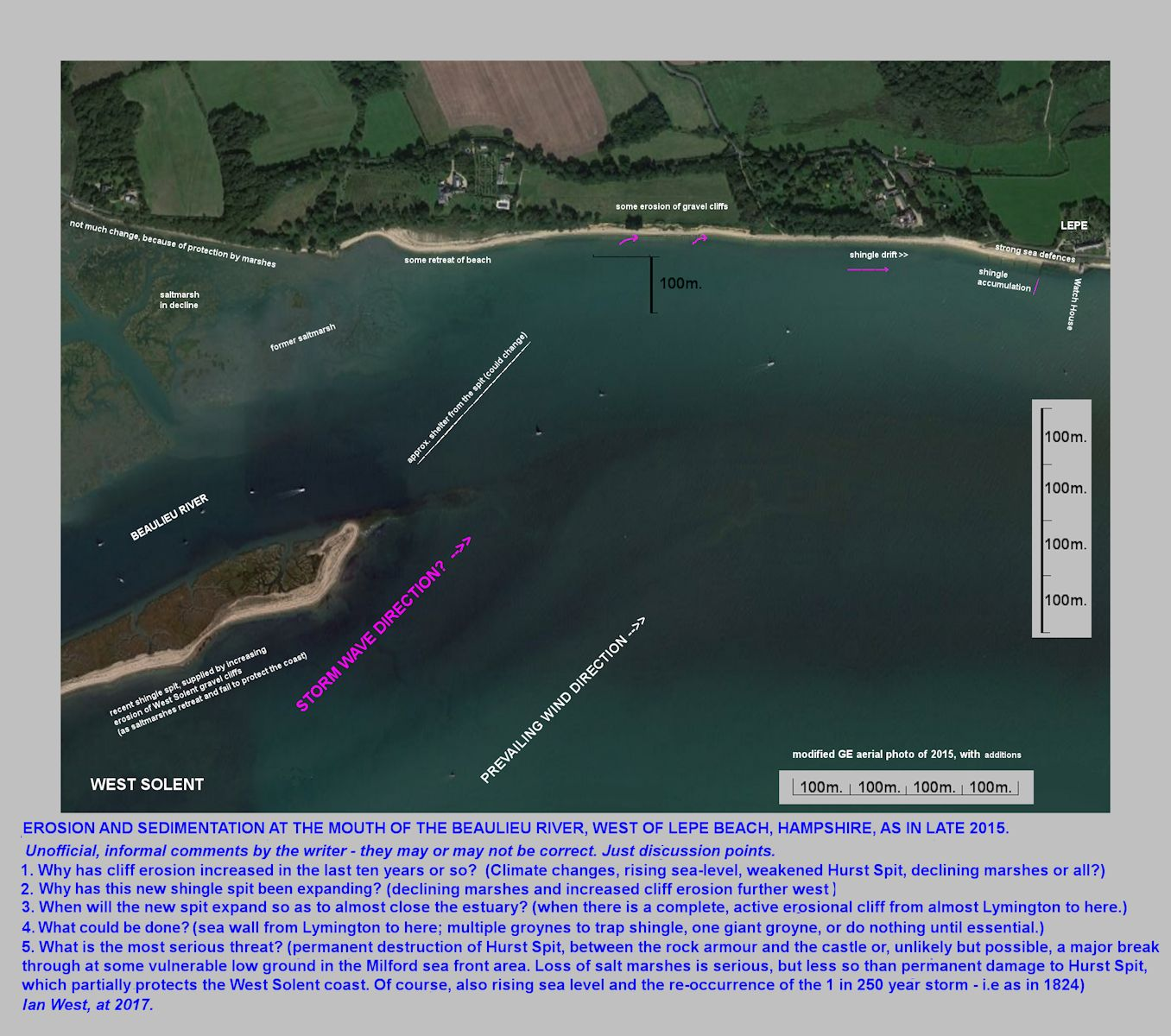 Spit development and coast erosion west of Lepe Beach, Hampshire, at the mouth of the Beaulieu River or estuary, as seen from above in labelled view