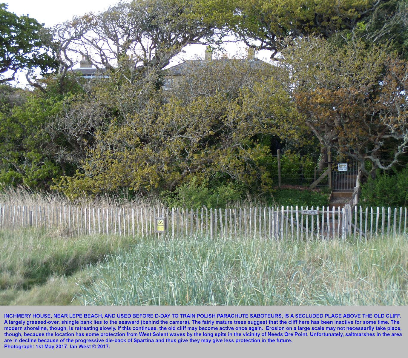 Inchmery House, viewed from the small shingle bank, and looking landwards toward the old cliff, near Lepe Beach, Hampshire