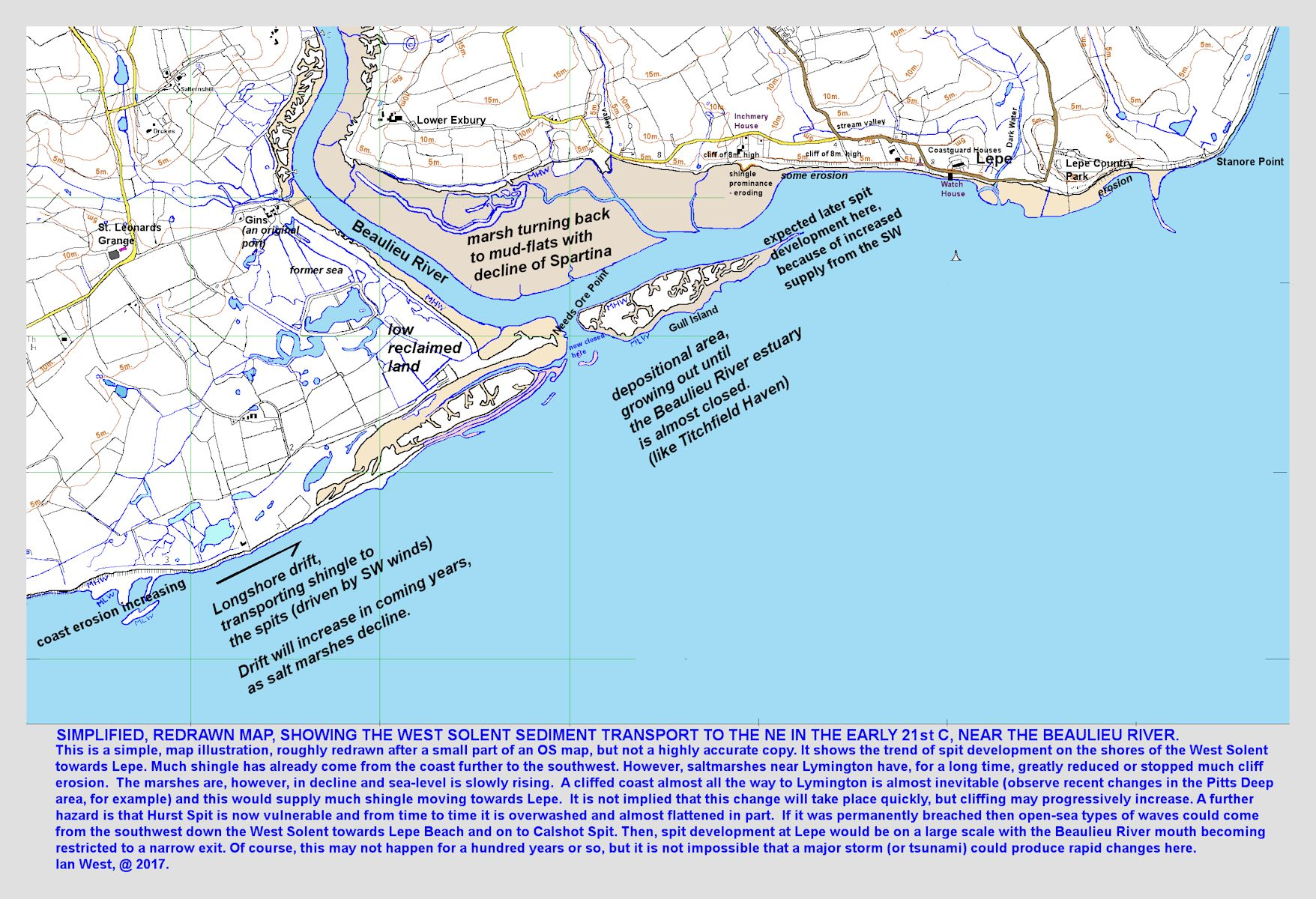 Shingle transport and spit development near Lepe Beach and the mouth of Beaulieu River, Hampshire, southern England, a modern map