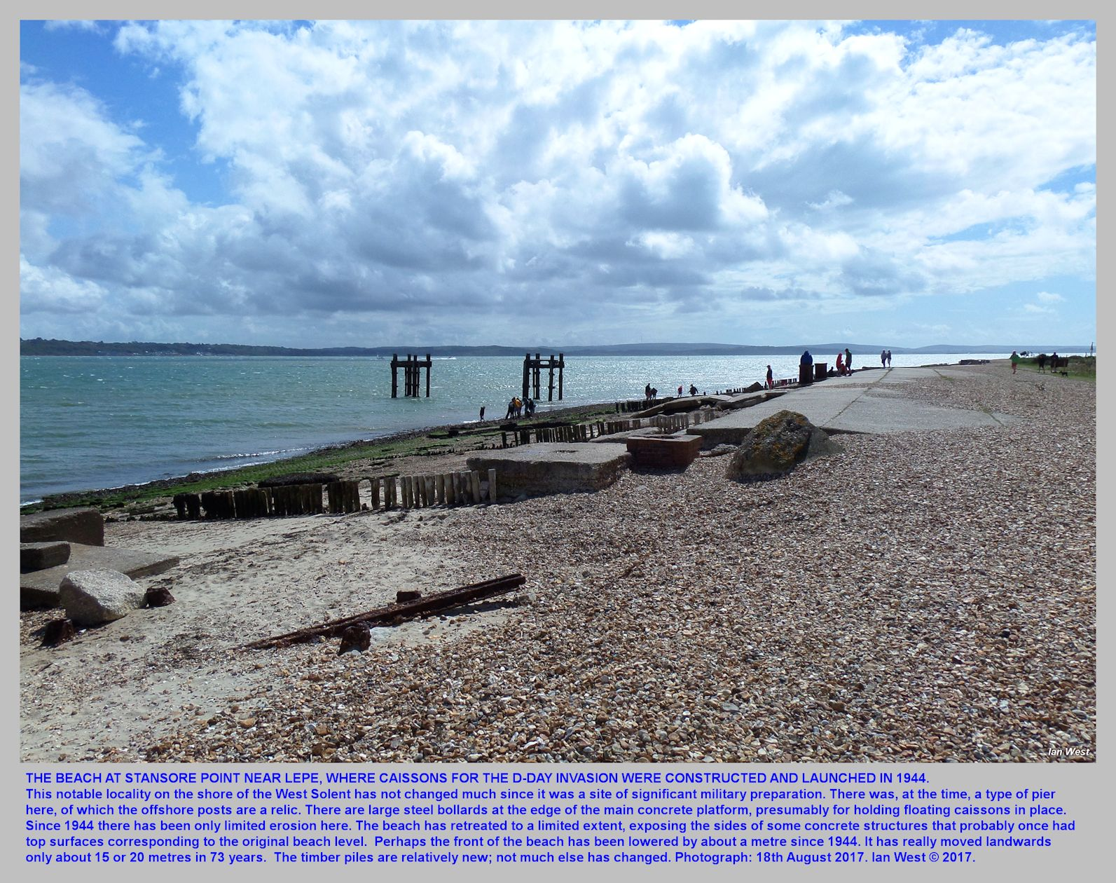 D-Day, Normandy Invasion, launching Beach, at Stansore Point, east of Lepe. Hampshire, 18th August 2017