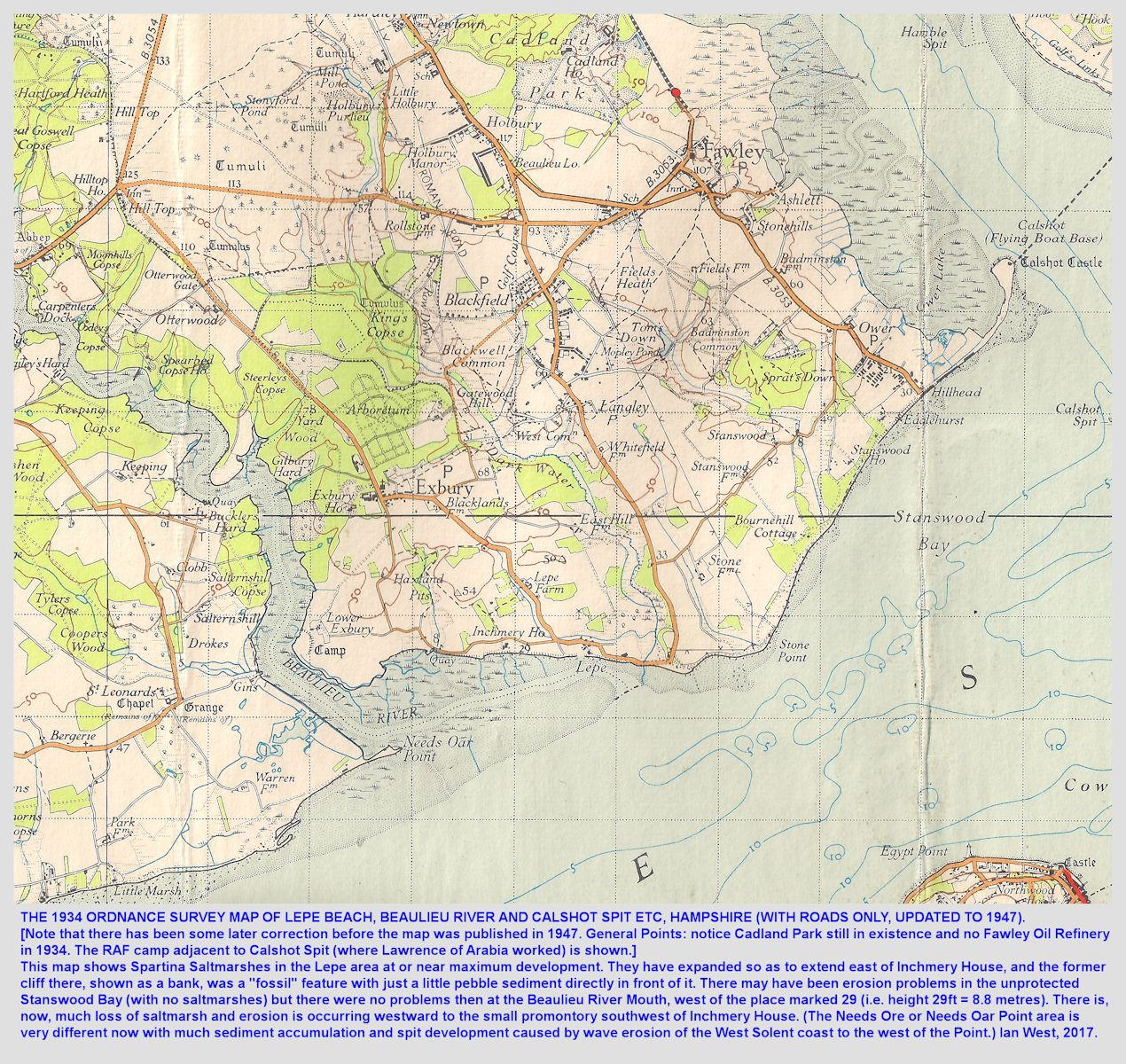The 1934 topographic map of Lepe Beach and Calshot Spit, Hampshire, with roads updated to 1947