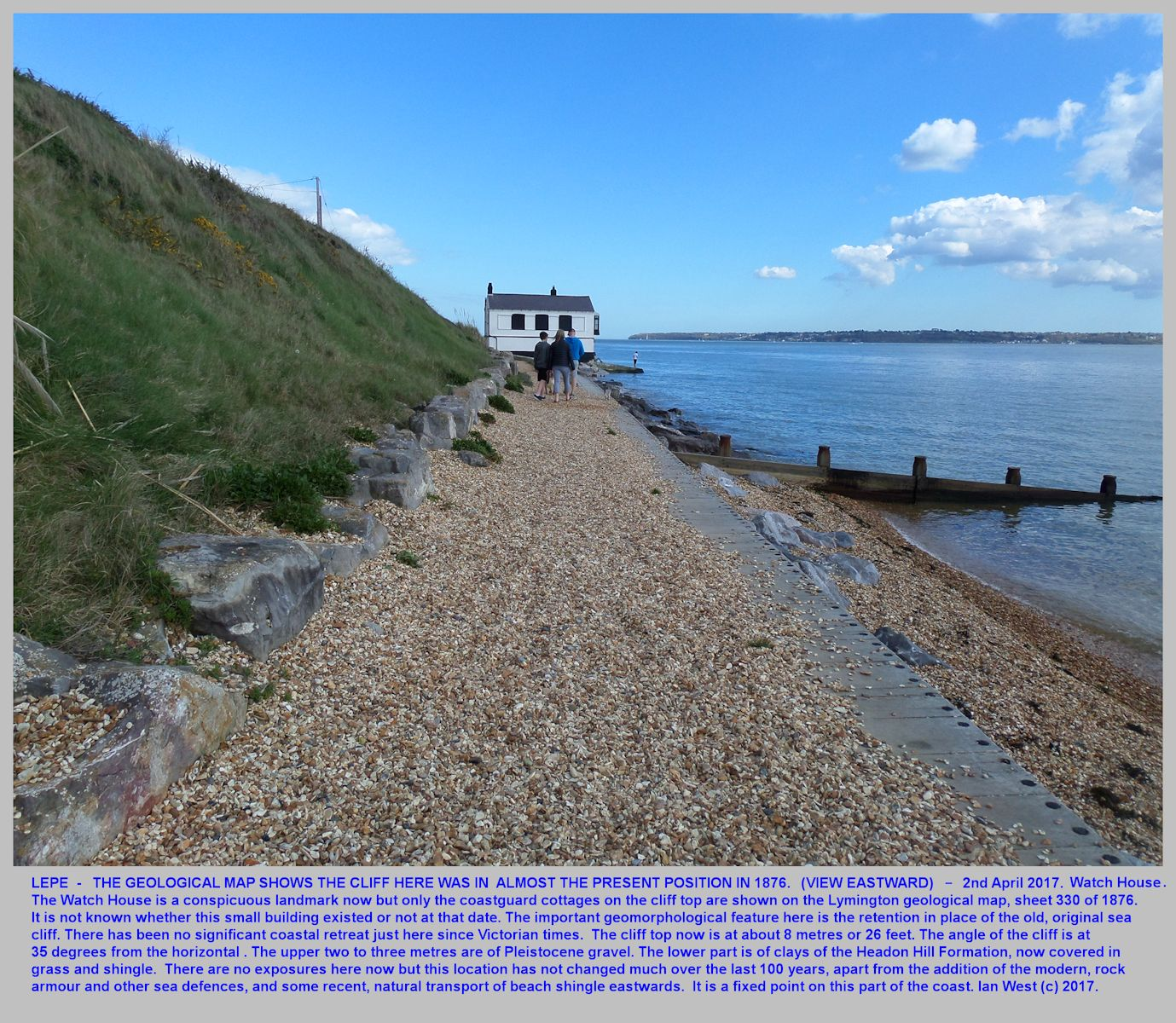 At Lepe, Hampshire, a view eastward towards the Watch House, and showing the old cliff, still fairly steep but overgrown, 2nd May 2017