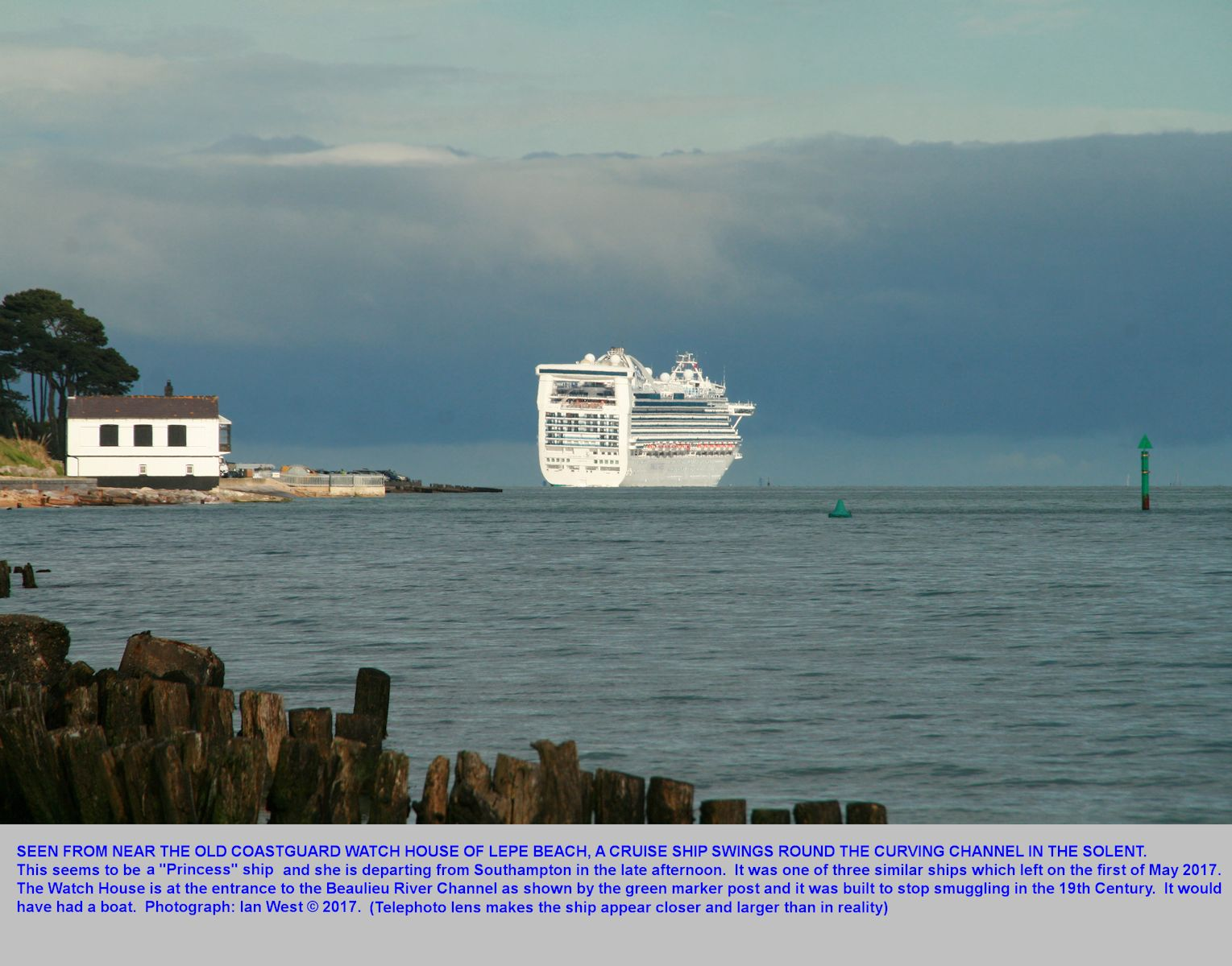 Lepe Beach, Hampshire, with its Watch House and views of the Solent, including those of ships, like this cruise ship, Ruby Princess, which is swinging round the Brambles Bank