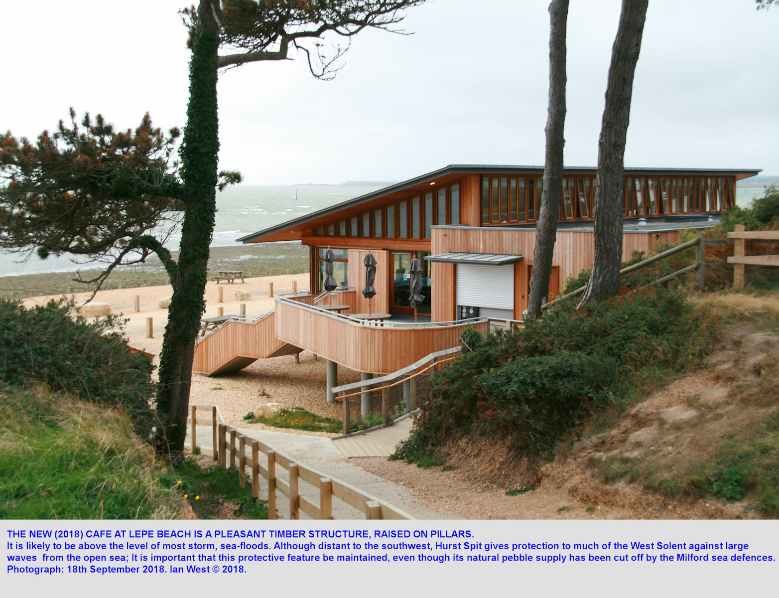 Arriving at Lepe Beach, upper car park and descending to the shore adjacent to the new cafe, as in 2018