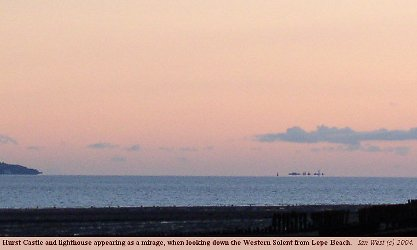 Hurst Castle seen as a mirage from Lepe Beach