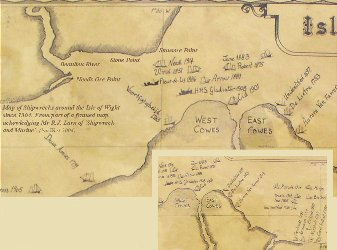 Map of the Lepe Beach, area, Hampshire, showing old wrecks