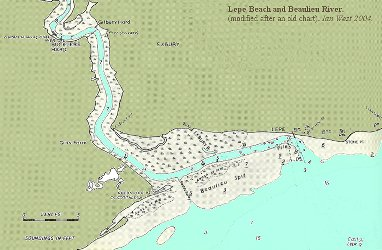 Chart showing Lepe Beach and the Beaulieu River, Hampshire