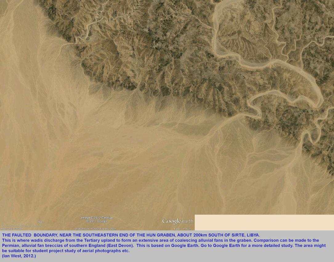 Uplift, wadis and alluvial vans, southeast Hun Graben, Libya, aerial view