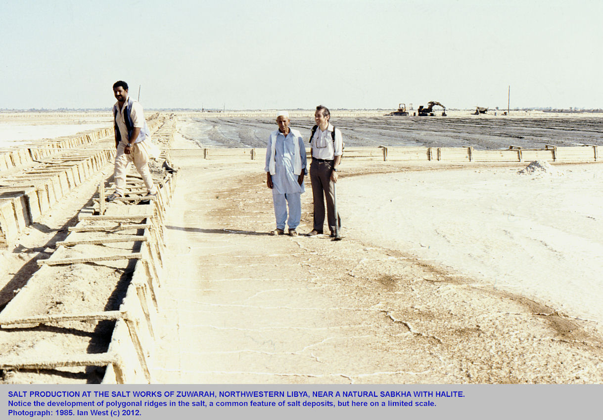 Salt works on the coast at Zuwarah, northeast Libya