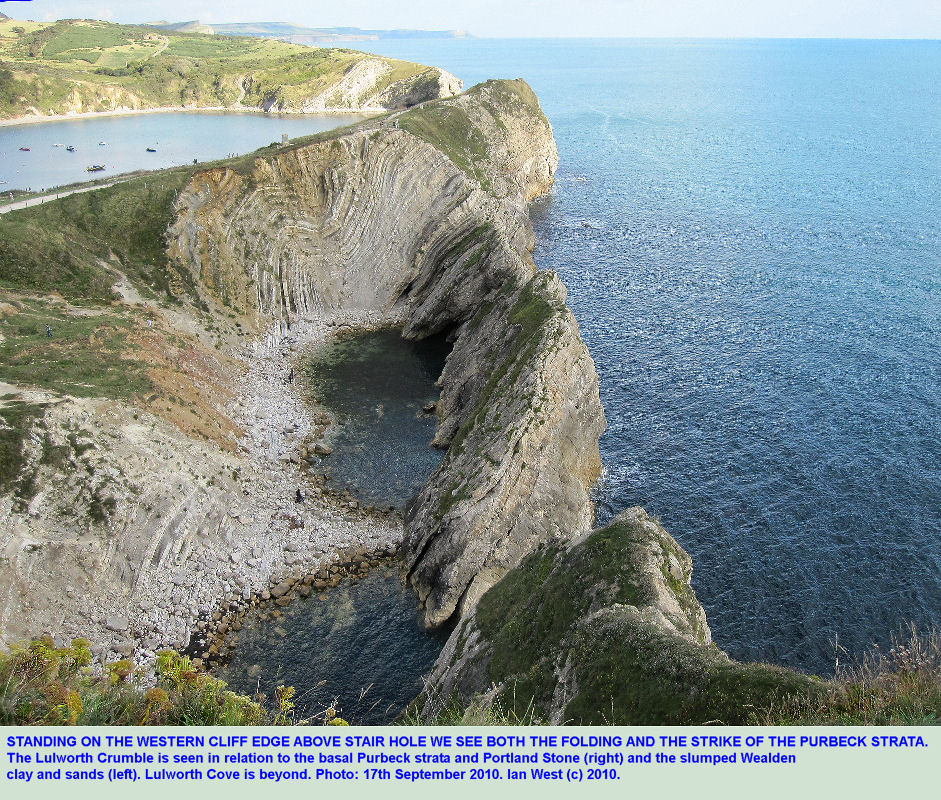 An overview of Stair Hole from the cliff edge above the western side, near Lulworth Cove, Dorset, 2010
