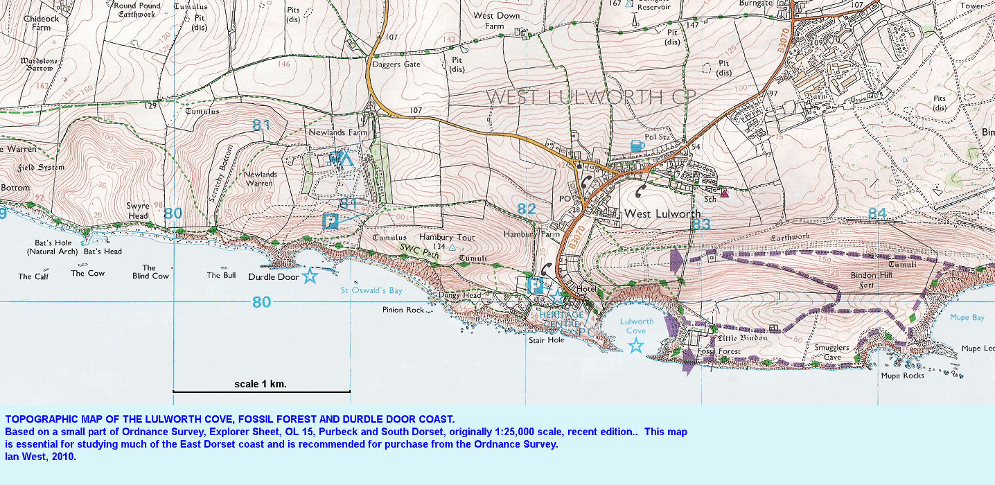 Topographic map of the Lulworth Cove, Durdle Door and Fossil Forest coast, east Dorset