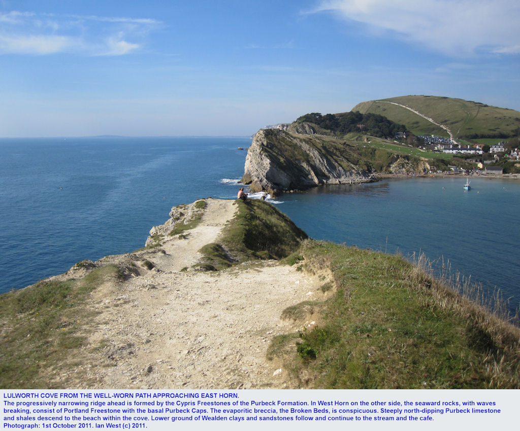 Part of Lulworth Cove, Dorset, seen from the high path approaching the East Horn, 2011